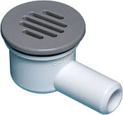 "Drain Assembly 2"" Face 90 Deg 3/4"" B 1-1/4"" Hole with Cover White - Item 640-0420"