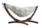 Vivere Brazilian Style Double Cotton Hammock with Solid Pine Arc Stand - Natural - Item C8SPCT-00