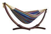 Vivere Brazilian Style Double Cotton Hammock with Solid Pine Arc Stand - ... - Item C8SPCT-20