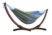Vivere Brazilian Style Double Cotton Hammock with Solid Pine Arc Stand - Oasis - Item C8SPCT-24