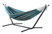 Vivere Brazilian Sunbrella Double Hammock with 9 ft. Stand - Surfside - Item C9SUNT