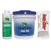 ClearView Kit - 25 lb 3 inch Jumbo Tablets - 24 lb Insta-Chlor - 3 Quarts Copper ... - Item CVPAK1