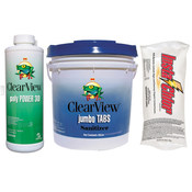 ClearView Kit - 25 lb 3 inch Jumbo Tablets - 24 lb Insta-Chlor - 3 Quarts Poly ... - Item CVPAK3