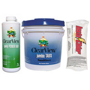 ClearView Kit - 50 lb 3 inch Jumbo Tablets - 48 lb Insta-Chlor - 4 Quarts Poly ... - Item CVPAK6