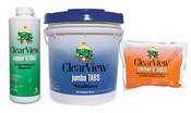 ClearView Pool Chemical Kit 8 (50 lb 3 inch Jumbo Tablets 48 lb Shimmer-n-Shock ... - Item CVPAK8
