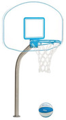 "DunnRite Clear Hoop Jr. Regulation Pool Basketball Game Set with 1.9"" Post - Item DMB190"