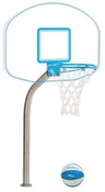 "DunnRite Clear Hoop Jr. Regulation Pool Basketball Game Set with 2 3/8"" Post - Item DMB400"
