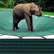Loop-Loc - 12 x 32 Green Mesh Rectangle Safety Cover for Inground Pools - Item LLM1008