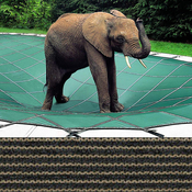Loop-Loc - 16 x 32 Tan Mesh Rectangle Safety Cover for Inground Pools - Item LLM1219