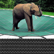 Pool Size: 14x28 Loop-Loc Gray Mesh Rectangle Safety Cover for Inground Pools - Item LLM1233