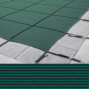 Meyco 14 x 28 + 4 x 8 Rectangle With Center Steps Rugged Mesh Green Safety Pool ... - Item MCQS142848RM