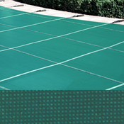 Meyco 14 x 32 Rectangle PermaGuard Solid Green Safety Pool Cover With Drains - Item MCQS1432PG