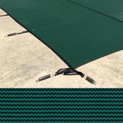 Meyco 20 x 40 + 4 x 8 Rectangle With 4' Offset Left Steps MeycoLite Mesh Green ... - Item MCQS204048LO4ML