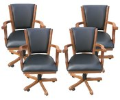 Antique Dark Oak Poker Chairs - Set of 4 - Item NG2351CH