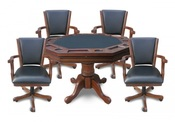 Walnut Kingston 3-n-1 Poker Table with 4 Chairs - Item NG2366