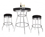 Remington Chrome And Black 3 Piece Pub Table Set - Item NG2725BL