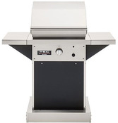 "TEC Patio FR 26"" Infrared Propane Gas Grill with Black Pedestal & Side Shelves - Item PFR1LPPEDB"