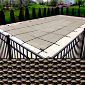 16 x 32 Rectangle with 4 x 8 Left Side Steps King Mesh Tan Safety Pool Cover 20 ... - Item PT-IG-300105