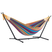 Vivere Brazilian Style Double Hammock with 9 ft. Stand - Tropical - Item UHSDO9-20
