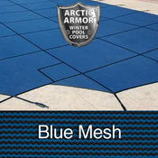 15 x 30 Rectangle with 4 x 8 Left Steps Arctic Armor Standard Mesh Pool Cover in ... - Item WS326BU