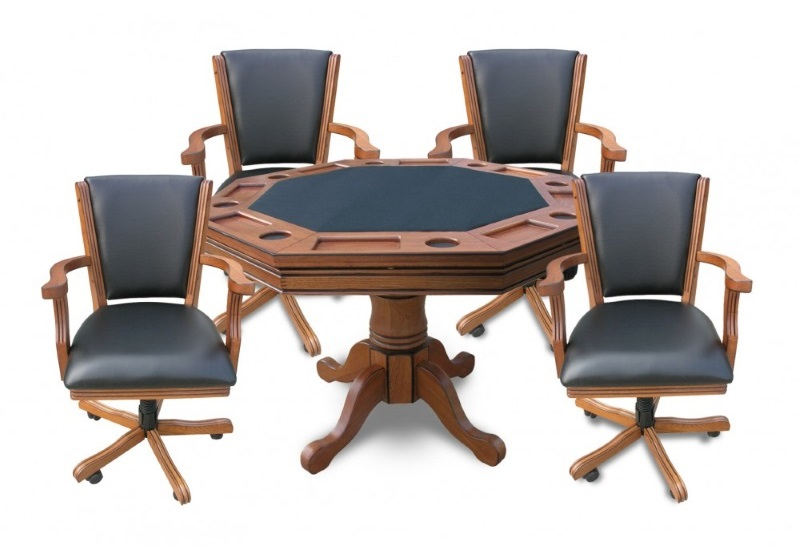 Hydropool.com | Antique Dark Oak Kingston 3 N 1 Poker Table With 4 Chairs    Item NG2351