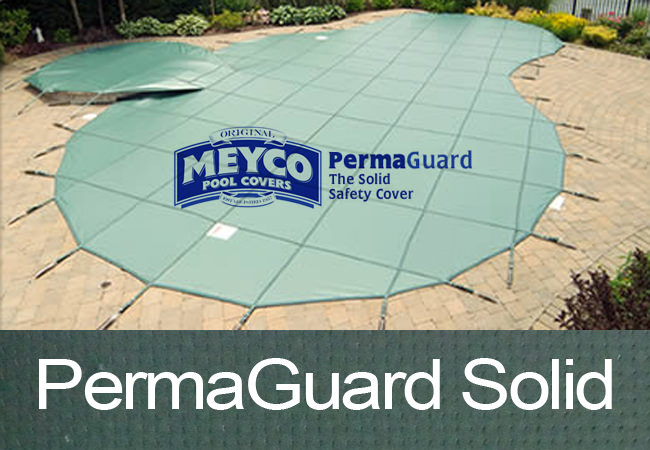 Meyco 15x34 Rectangle PermaGuard Solid Green Safety Pool Cover With No Drains Item #MCQS1534PGP