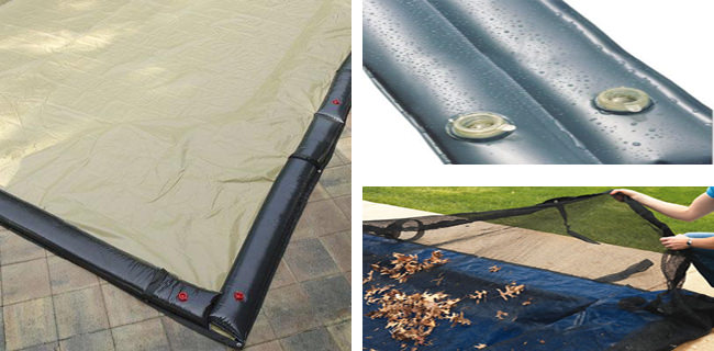 24 x 40 Inground Winter Pool Cover plus 18 Water Tubes and Leaf Guard 20 Year Black/Tan Rectangle Item #WC-IG-101008-WT-LG