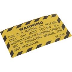 Warning Label, PacFab Pent Nautilus Plus/Triton C-3,Air Rlf Item #14-102-1582