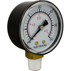 "Pressure Gauge, Hayward, 1/4""mpt, 0-45psi, Bottom Mount Item #14-150-1054"