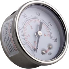 "Pressure Gauge, WW Clearwater II,1/4""mpt, 0-60psi,Back Mount - Item 14-270-1073"