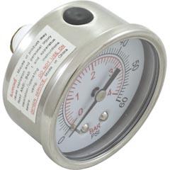 """Pressure Gauge, Waterway, 1/4""""mpt, 0-60psi, Back Mount Item #14-270-1112"""